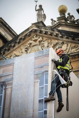 © Mark Hemsworth. 27/01/2017. BLENHEIM PALACE, OXFORDSHIRE UK. Renovation of the front steps at Blenheim Palace will take place under wraps. A special cladding has been commissioned to hide the renovations and to preserve the front facade of the Palace for the many visitors to the World Heritage site . Photo credit: MARK HEMSWORTH