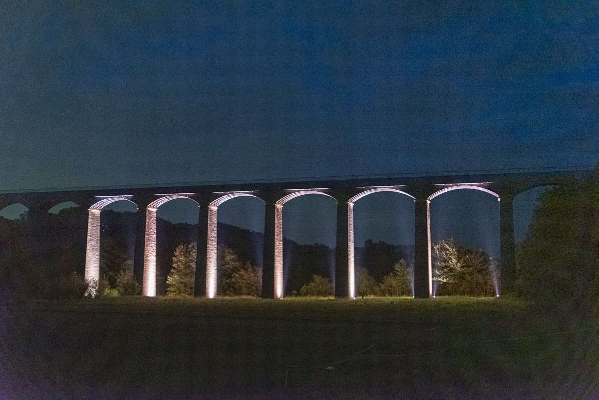 Pontcysyllte Aqueduct lit up as part of the 10th Anniversary WH celebrations