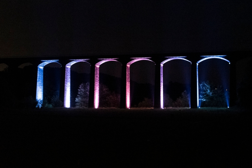 Pontcysyllte Aqueduct lit up as part of its 10th Anniversary as World Heritage Site celebrations